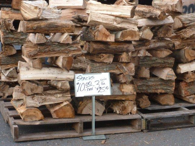 Firewood - $10 a stack or $35 for a pallet